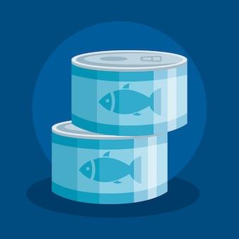 Ułożone puszki z tuńczykiem
