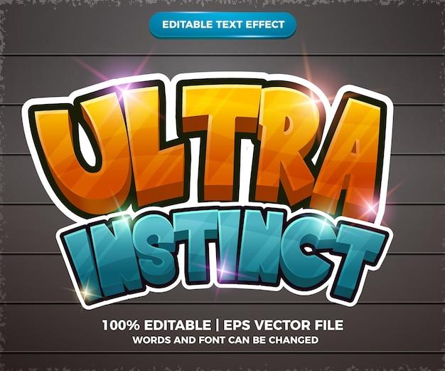 Ultra instinct błyszczący edytowalny efekt tekstowy komiksowy styl szablonu 3d