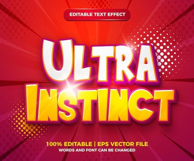 Ultra instinct edytowalny efekt tekstowy w stylu komiksu komiksowego
