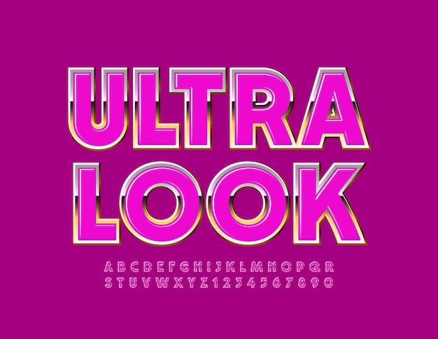 Ultra look. glamour błyszcząca czcionka. różowe i złote litery alfabetu i cyfry zestaw