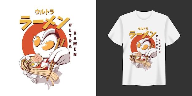 Ultra ramen tshirt i odzież modny design typografia drukuj ilustracja wektorowa