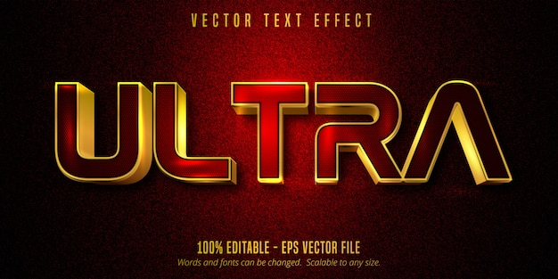 Ultra tekst, luksusowy złoty edytowalny efekt tekstowy na czerwonym i czarnym płótnie