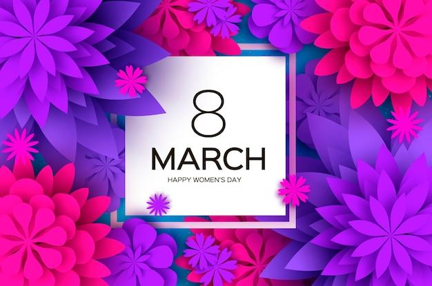 Ultra violet pink paper cut flower. 8 marca. życzenia z okazji dnia kobiet. kwiatowy bukiet origami. ramka kwadratowa. tekst.