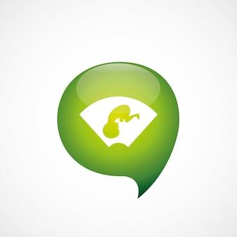 Ultradźwiękowe dziecko ikona zielone myśleć logo symbol bańki, izolowana na białym tle