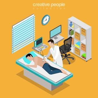 Ultrasonografia Męska Diagnostyka Medyczna Narządy Wewnętrzne Kontrola Płaska Izometryczna Opieka Zdrowotna Premium Wektorów
