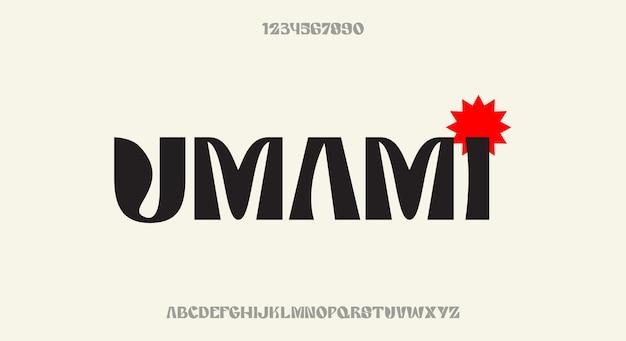 Umami, odważna ozdobna czcionka wyświetlacza, nowoczesny krój alfabetu