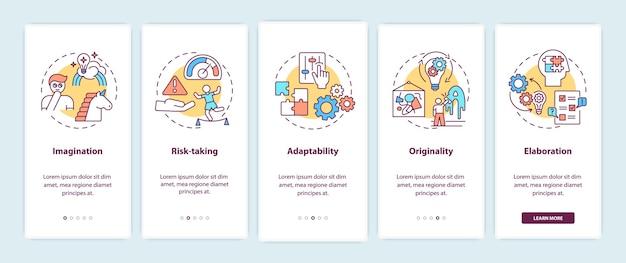 Umiejętności kreatywnego myślenia wprowadzające ekran strony aplikacji mobilnej z koncepcjami