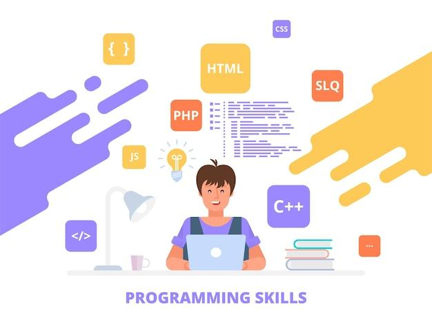 Umiejętności programowania pracujący programista, tworzenie oprogramowania koncepcja płaskiej ilustracji może być wykorzystana do banerów internetowych, infografik, obrazów bohaterów.