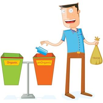 Umieszczanie śmieci w odpowiednich koszach na śmieci