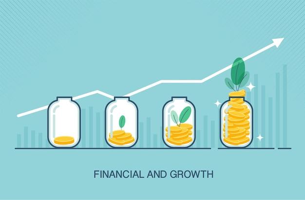 Umieszczanie złotych monet w szklanej, przezroczystej butelce w płaskiej, odpowiedniej dla wzrostu firmy lub finansów