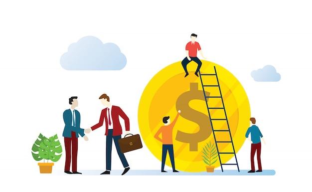 Umowa biznesowa afiliacji z zespołem ludzi biznesu współpracuje
