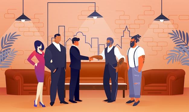 Umowa dotycząca projektu biznesowego w nowoczesnej powierzchni biurowej.