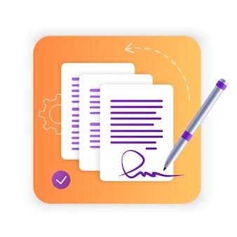 Umowa elektroniczna lub podpis cyfrowy podpisanie umowy elektronicznej online płaska ikona strona internetowa