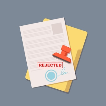 Umowa odrzucona. dokument biurowy. ilustracja wektorowa na białym tle