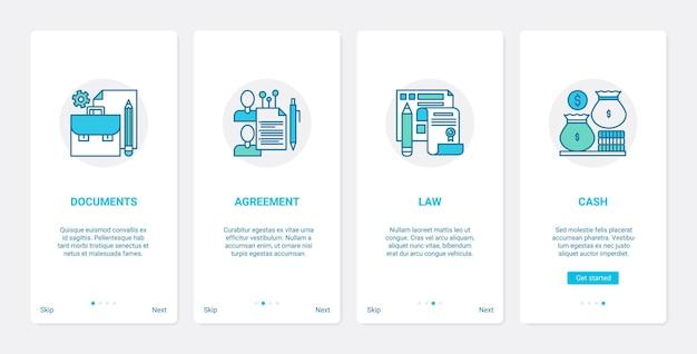 Umowa prawna dokumentuje zestaw ekranów strony aplikacji mobilnej ux ui prawa finansowego