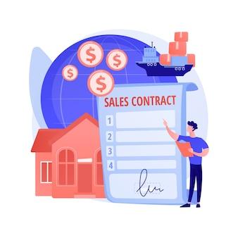 Umowa sprzedaży warunki abstrakcyjne pojęcie ilustracji wektorowych. cena kontraktowa, warunki dostawy, płatność, umowa handlowa, kupujący i sprzedający, najem i dzierżawa nieruchomości, metafora abstrakcyjna partnerstwa.
