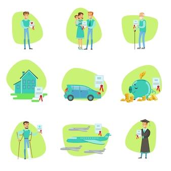 Umowa ubezpieczenia chroniąca uśmiechnięte osoby w różnych skomplikowanych sytuacjach usługi firmy ilustracje infograficzne