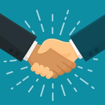 Umowa uścisku dłoni uścisnąć dłoń z symbolem biznesowym partnera biznesowego.