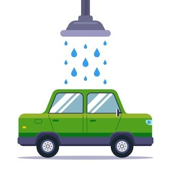 Umyj brudny samochód w myjni samochodowej. płaska ilustracja