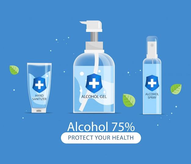 Umyj butelkę z żelem do dezynfekcji rąk alkoholem. zapobieganie koronawirusom.