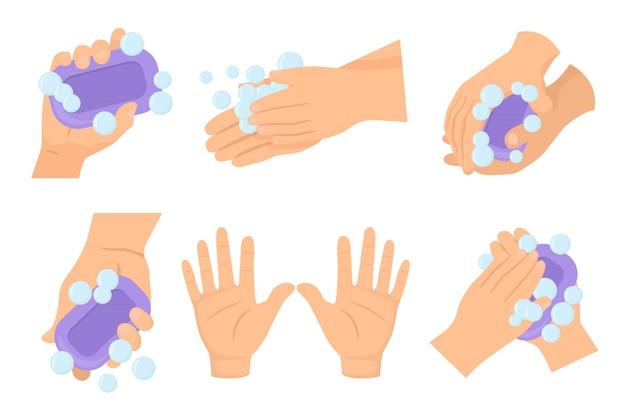 Umyj dłoń, zestaw rąk mydłem