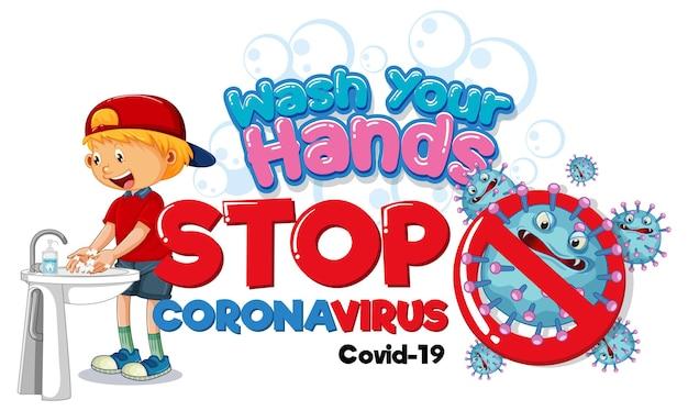 Umyj ręce banner stop coronavirus z chłopcem myjącym ręce na białym tle