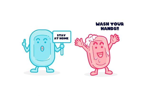 Umyj ręce i zostań w domu pandemia wirusa mydła z kreskówkową ilustracją