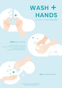 Umyj ręce kroki na kolorowej ilustracji
