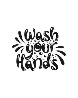 Umyj ręce. projekt plakatu typografii.