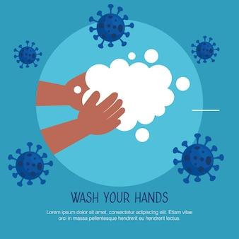 Umyj ręce szablon, dzieciak myje ręce