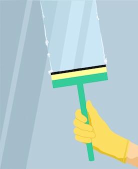 Umyj transparent koncepcja szklanego okna. ręka w żółtej rękawiczce ze ściągaczką, skrobakiem, wycieraczką myje szybę. ilustracja kreskówka banner koncepcji mycia szkła okno do projektowania stron internetowych