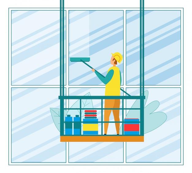 Umyj wysoki budynek biurowy za pomocą ściągaczki