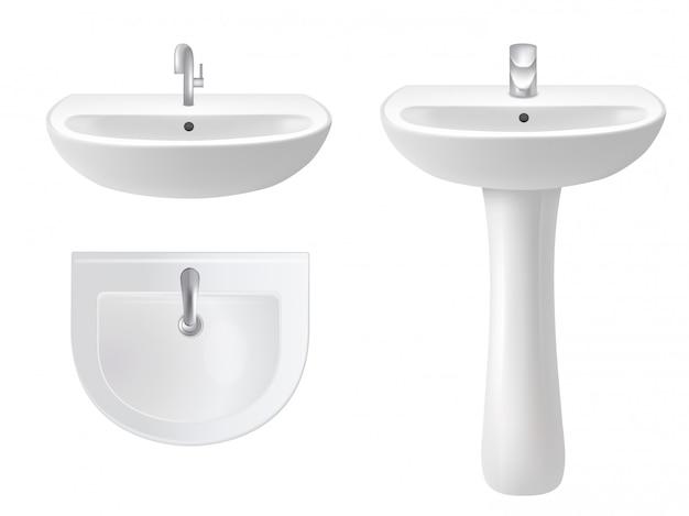 Umywalka na białym tle wektor realistyczne ilustracja