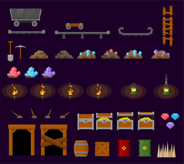 Underground mine game objects