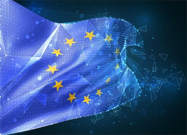 Unia europejska, flaga wektorowa, wirtualny abstrakcyjny obiekt 3d z trójkątnych wielokątów na niebieskim tle