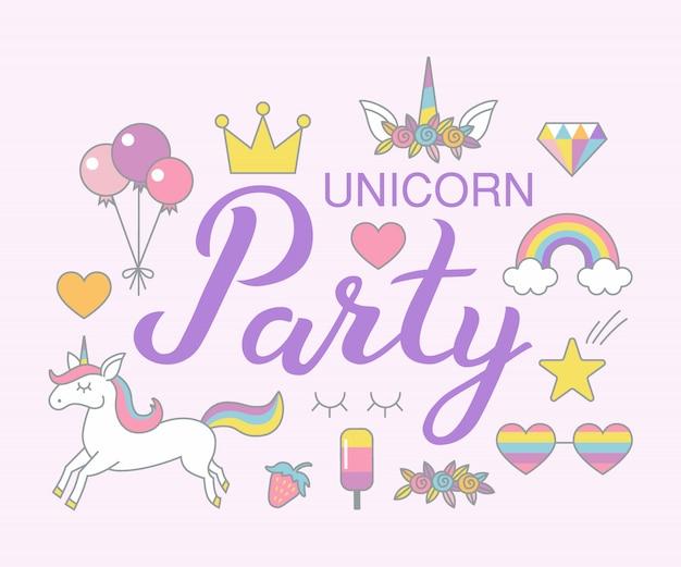 Unicorn party urodziny clipartów zestaw