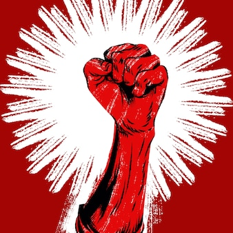 Uniesiona ludzka pięść protestu. plakat retro rewolucja nieczysty