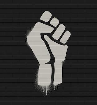 Uniesiona pięść w proteście. ikona pięści na białym tle na mur z cegły. ilustracja