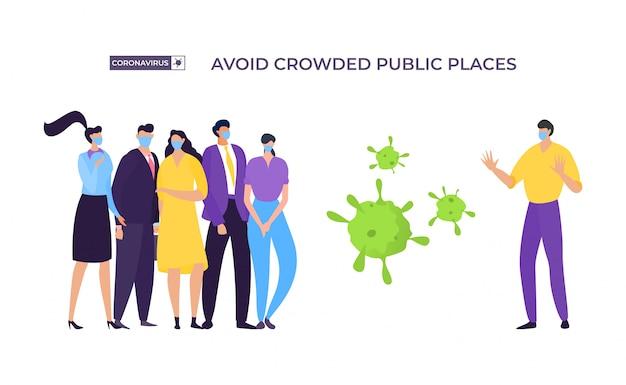 Unikaj zatłoczonego miejsca bannera, ilustracji ochrony koronawirusa. zamaskowany mężczyzna odsuwa się od grup ludzi, aby uniknąć zarażenia