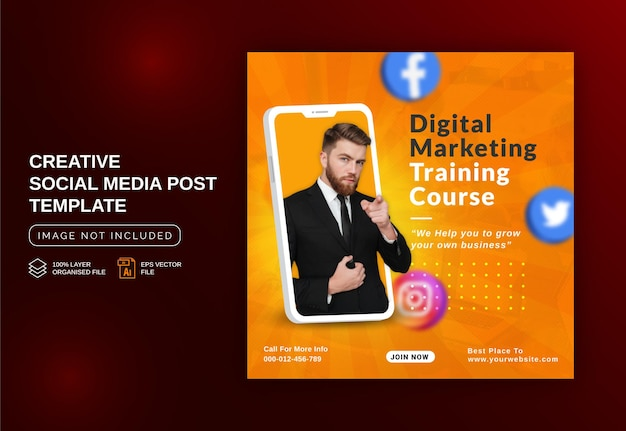 Unikalna koncepcja postu w mediach społecznościowych na żywo do promocji szkolenia z marketingu cyfrowego szablon instagram