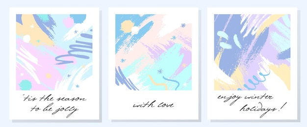 Unikalne artystyczne kartki świąteczne z ręcznie rysowanymi kształtami i teksturami w delikatnych pastelowych kolorach. modny projekt z pozdrowieniami idealny do wydruków, ulotek, banerów, zaproszeń, okładek i nie tylko. nowoczesne kolaże wektorowe.