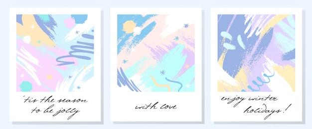 Unikalne artystyczne kartki świąteczne z ręcznie rysowanymi kształtami i teksturami w delikatnych pastelowych kolorach.