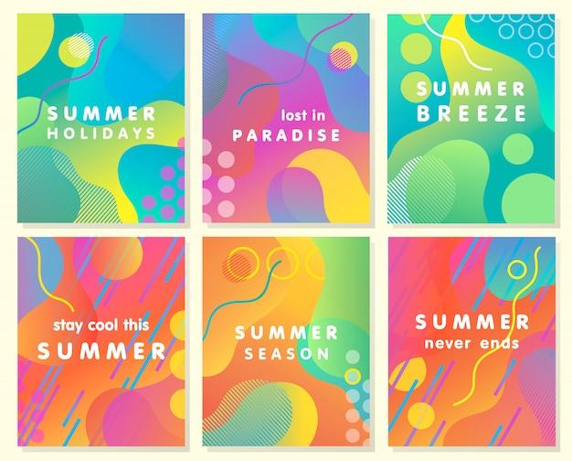 Unikalne artystyczne karty letnie z jasnym gradientowym tłem, kształtami i elementami geometrycznymi w stylu memphis.