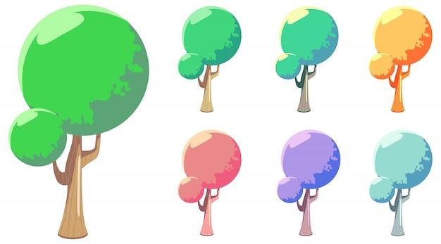 Unikalne drzewo kształtu w stylu cartoon