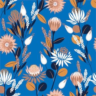 Unikalne kwiaty kwitnące protea w ogrodzie pełnym roślin botanicznych bez szwu deseń w projektowaniu wektora mody, tapety, opakowania i wszystkie wydruki