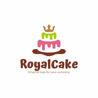 Unikalne logo ciasta z kolorową i koronowaną koncepcją ciasta