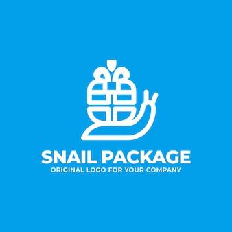 Unikalne logo dostawy z koncepcją ślimaka przewożącego zamówienia