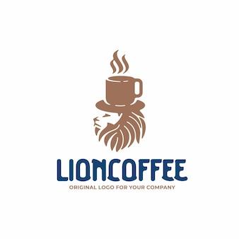 Unikalne logo z głową lwa i koncepcją filiżanki kawy