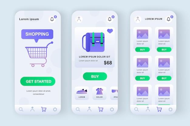 Unikalne rozwiązanie neomorficzne do zakupów online. aplikacja na zakupy ze zdjęciem produktu, opisem i ceną. interfejs platformy internetowej rynku, zestaw szablonów ux. gui dla responsywnej aplikacji mobilnej.