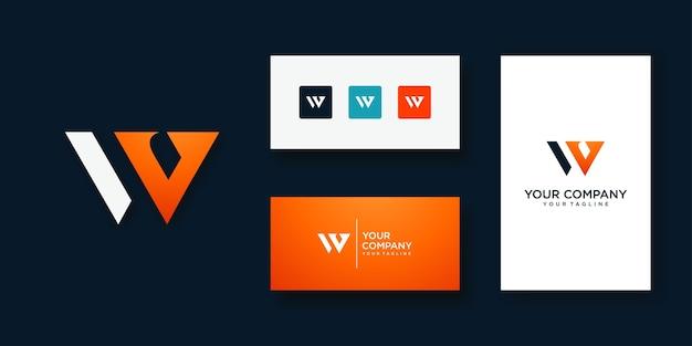 Unikalny nowoczesny geometryczny kreatywny elegancki szablon logo litery w.